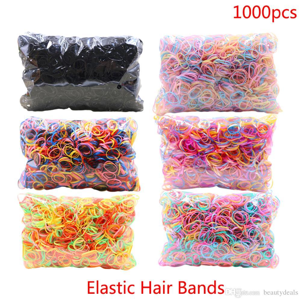 Yaklaşık 1000 adet / torba Kauçuk Hairband Halat Silikon At Kuyruğu Tutucu Elastik TPU Saç Tutucu Kravat Sakız Yüzükler Kız Saç Aksesuarları