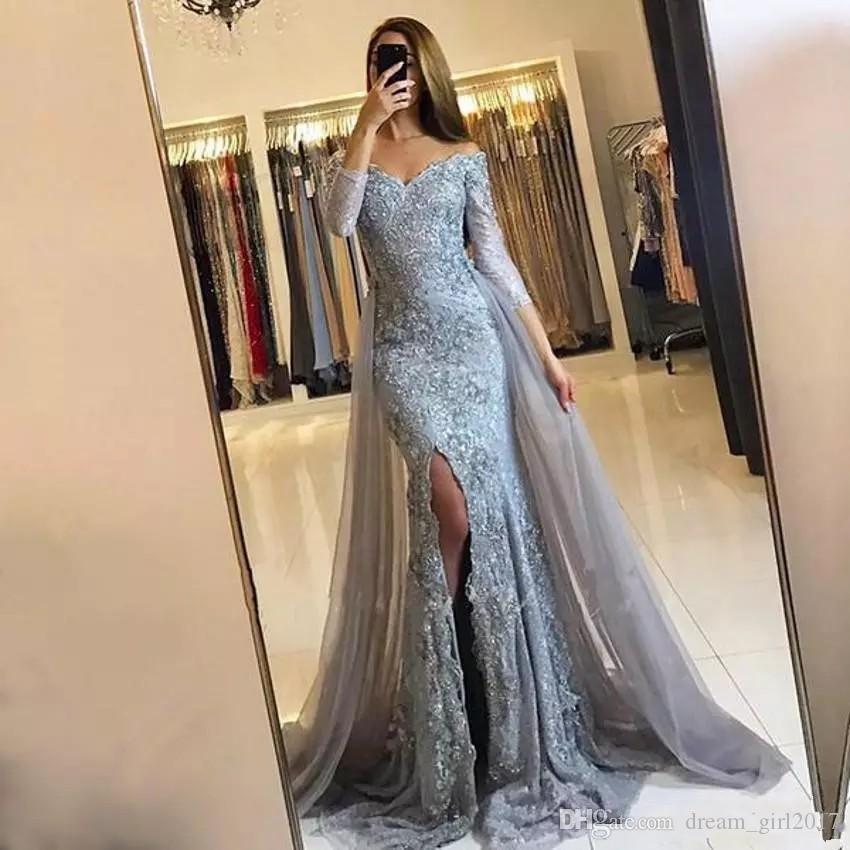 2019 серый Пром платья с плеча с длинным рукавом Overskirts формальный арабский Дубай Русалка Пром платья Сплит сторона вечерние платья