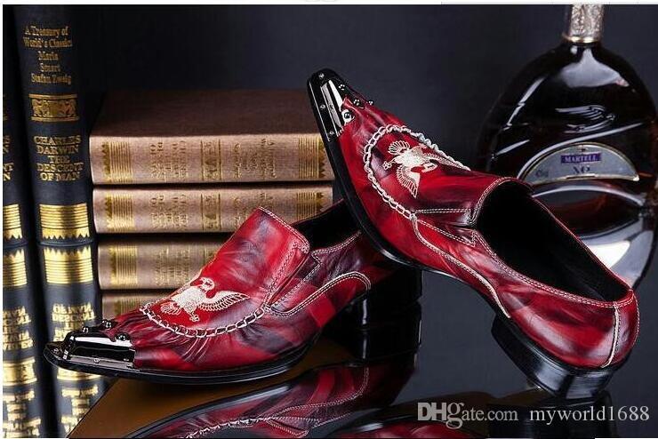 Fait à la main rouge en cuir véritable avant Metal Toe hommes fête et de mariage Casual chaussures italiennes oxfords pour hommes mujers 45 46