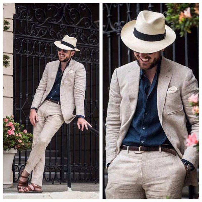 Beach Beige Linen Men Suits for Wedding Suit trajes de hombre Groom Tuxedo Terno Masculino Slim Fit Best Man Blazer Prom Jacket Pants