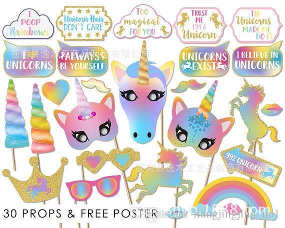 30 PCS Glitter Unicorn Photo Booth Adereços Festa de Aniversário Da Menina Abastecimento SKY SKY 2 estilos photo booth BBA175 20 conjunto