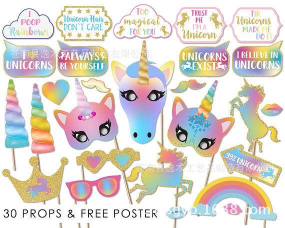 30 UNIDS Glitter Unicornio Photo Booth Atrezzo Fiesta de Cumpleaños de la Boda Fuente SKY 2 estilos de cabina de fotos BBA175 20set