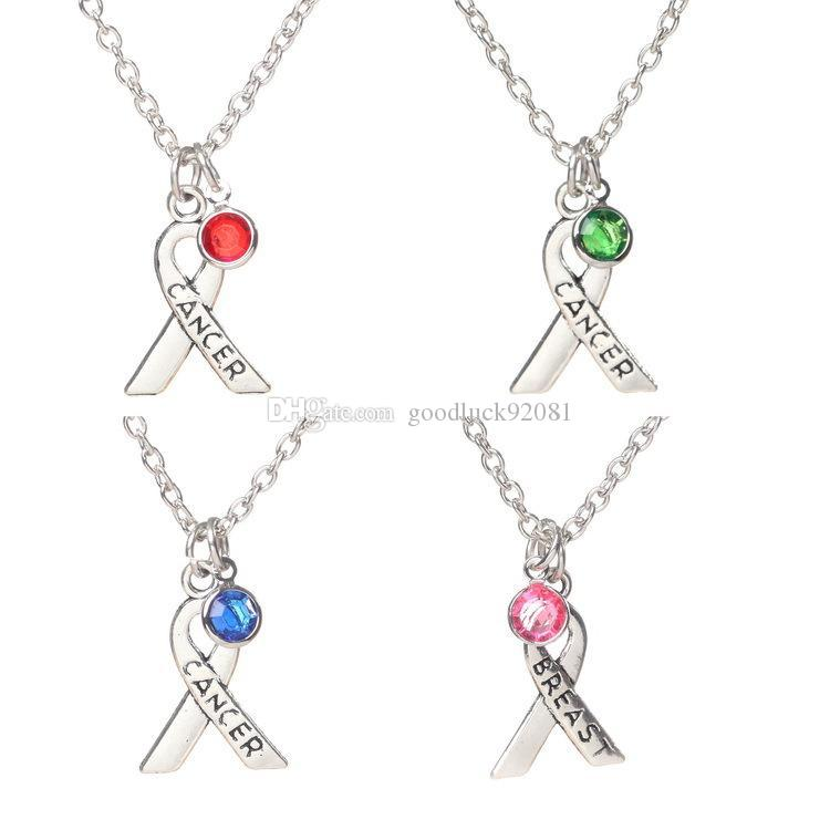 Pink Enamel Ribbon Awareness Cancer Charms Pendants breast crystal pendant necklaces clavicle DIY accessories