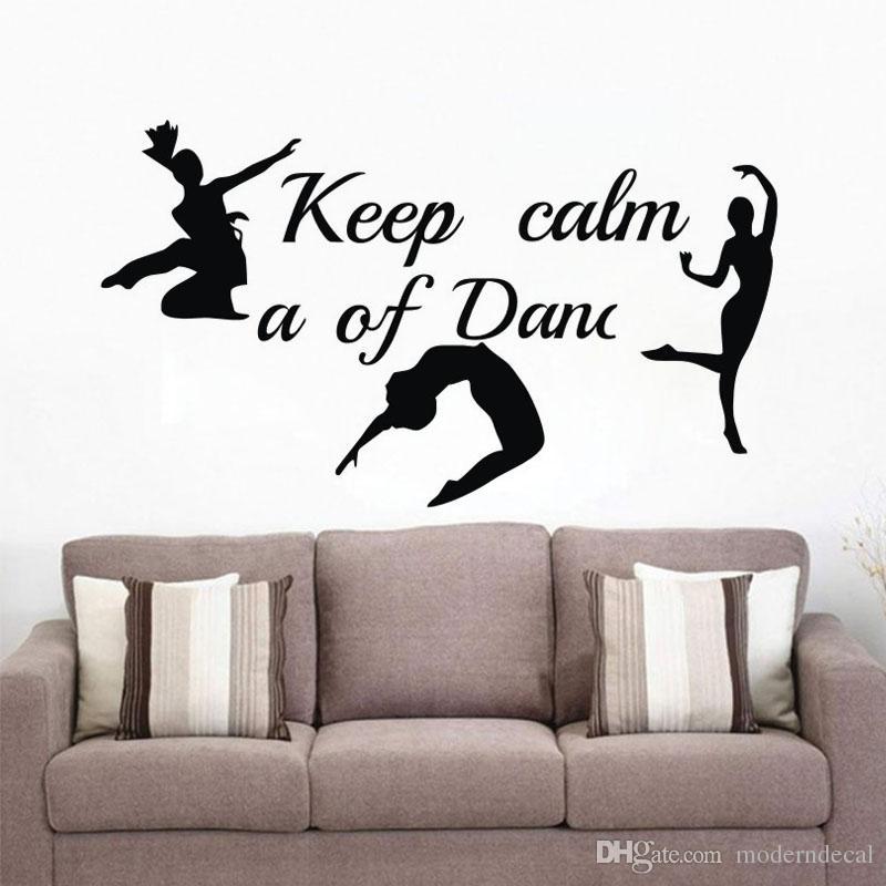 Mantenga la calma A Dance Vinilos adhesivos de vinilo Adhesivos tres bailarines Pegatinas de pared Decoración de la pared del cuarto de niños de los niños