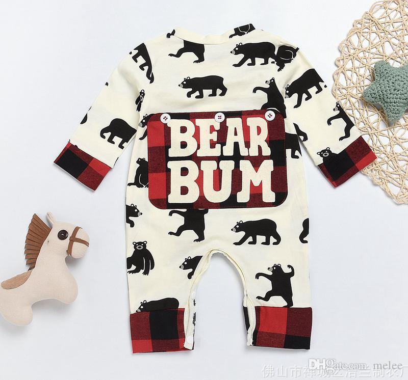 """INS Noel Chirstmas """"Ayı Bum"""" mektup baskı Mutlu Noel Yenidoğan Çocuk Erkek Bebek Kız Giyim Tulum Romper tulum tulum"""