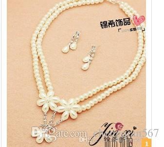 белый цвет Кристалл жемчужина свадьба невесты леди набор ожерелье серьги thlii rgrtg