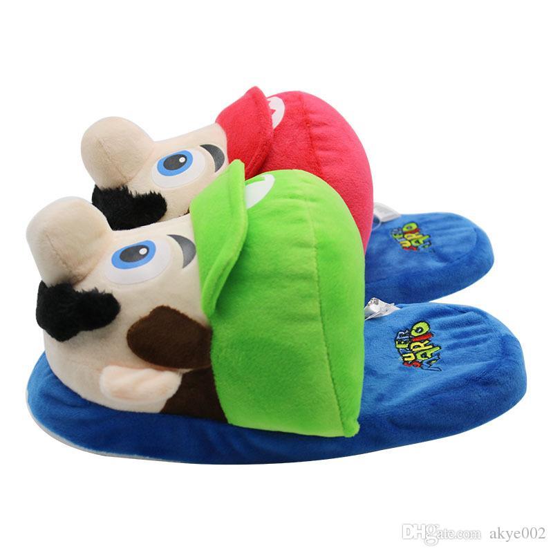 Großhandel Heißer Verkauf Super Mario Bruder Mario Und Luigi Stofftiere Winter Männer Frauen Baumwolle Innen Warme Hausschuhe Hause Plüsch Schuhe A001