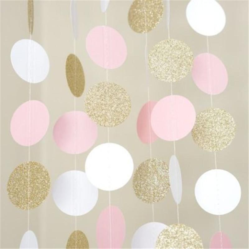 Glitter Bunting Banner Pink White Gold Circle Polka Dots Paper Garland Banner 10ft Banner Wedding Birthday Decoration Supplies Birthday Tableware