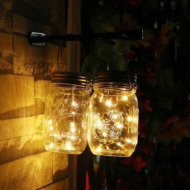 2018 Nouveauté verre Mason pot coloré Jardin Lumière Cordes 450ml Chaud blanc Bouteille solaire couverture Lampes d'extérieur Night Lights LED Strips