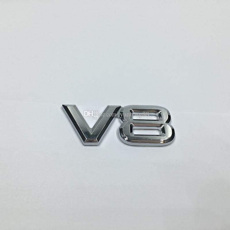 10pcs/lot Universal V8 Emblem Logo Sticker Decal 3D Chrome Badge For Ford Chevy Hemi 77*32MM