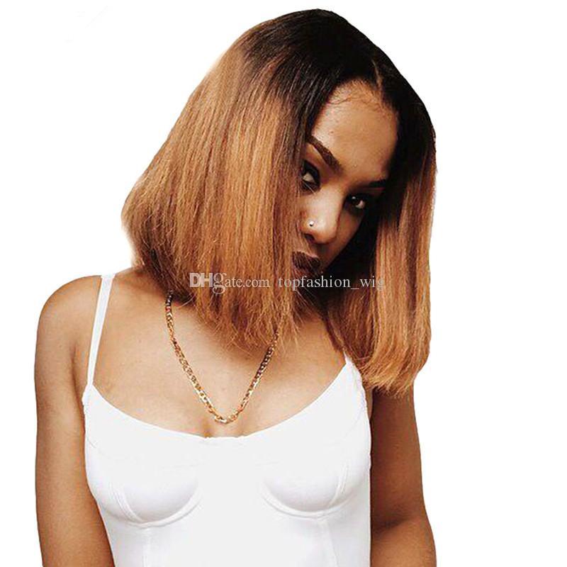 Brezilyalı Bakire Saç Tutkalsız Tam Dantel Ombre Peruk Bob Tarzı Iki Ton 1B 30 İnsan Saç Bob Peruk Dantel Ön Peruk Kadınlar Için