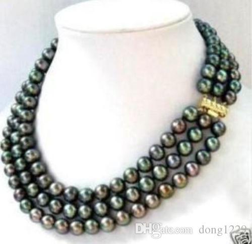 Collana di perle a 3 righe 7-8mm nero Akoya 17-19inch
