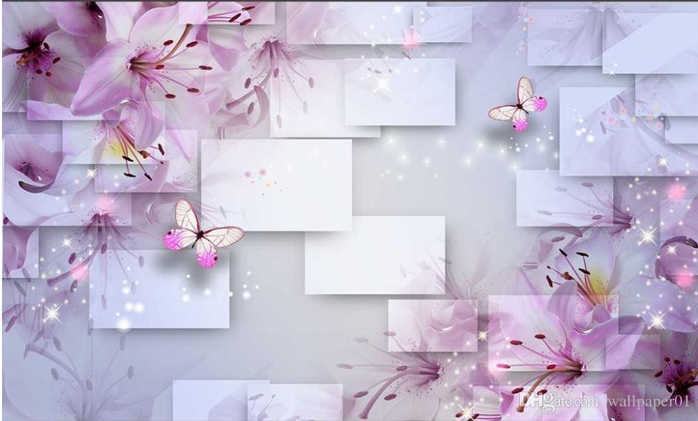 Пользовательские фото обои КТВ оригинальный розовый Лилия мечта цветок бабочка любовь цветок элегантный романтический фон стены ТВ фон спальня фото
