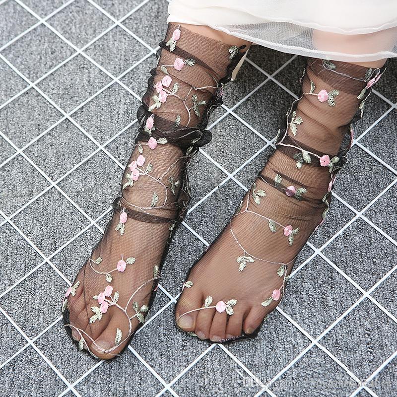 grace flower mesh Transparent Crystal Socks Silk Summer Women Socks