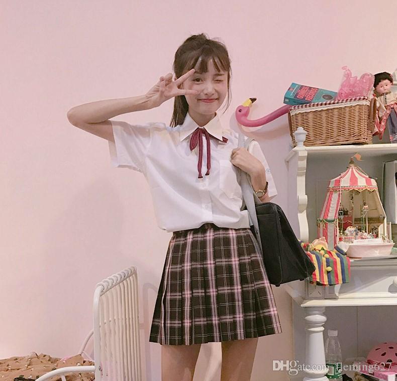 Summer student uniform student sailor suit short sleeved shirt plaid skirt academy style school uniform costume