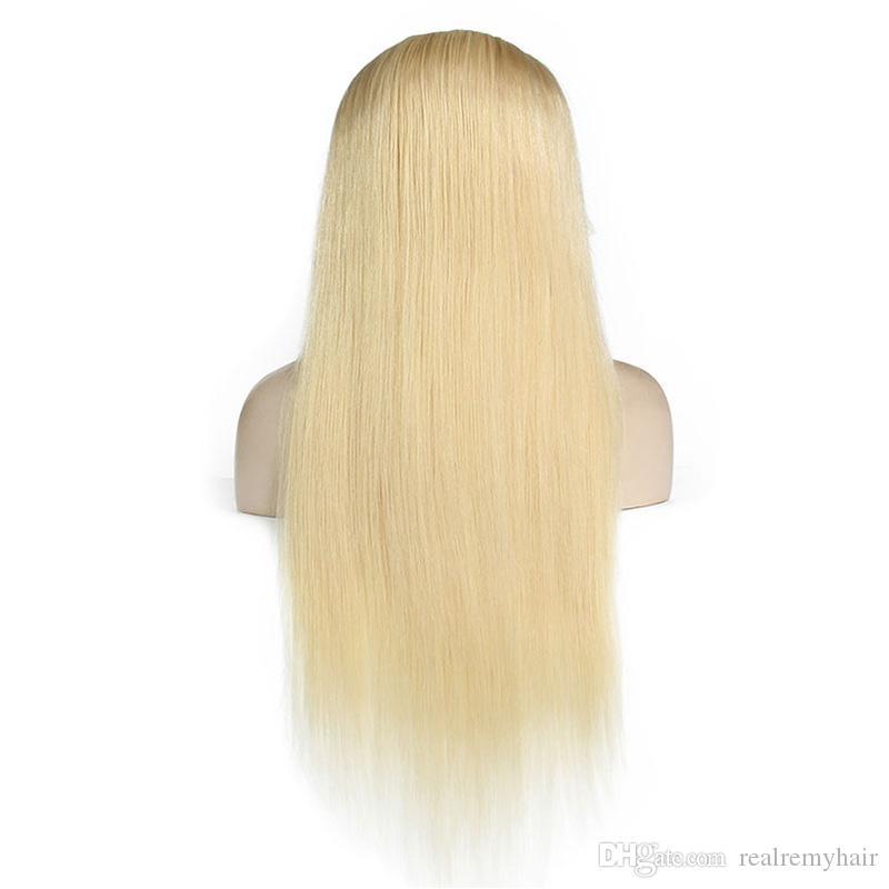 Tam Dantel İnsan Saç Peruk Hafif Sarışın 613 # Perulu Bakire Saç Düz Tutkalsız Dantel Ön İnsan Saç Peruk Siyah / Beyaz Kadınlar için