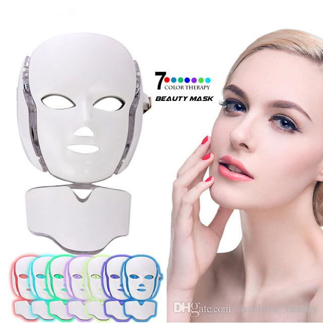 LM001 PDT 7 LED light Therapy face Beauty Machine LED Facial Neck Mask With Microcurrent for skin whitening device dhl free shipment