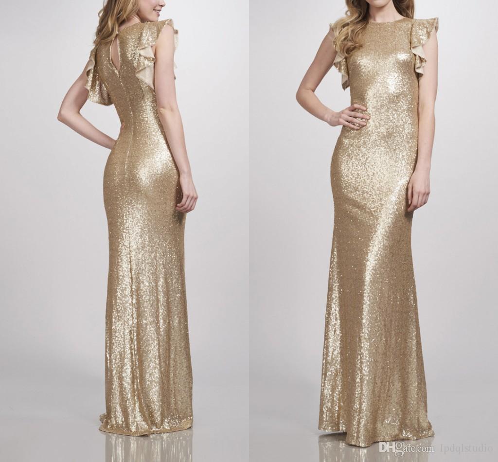Oro mate a las lentejuelas vestidos de dama de la tripulación de la sirena dama de fiesta de la boda vestido de 2019 nuevas ropas llegada de demoiselle d'honneur