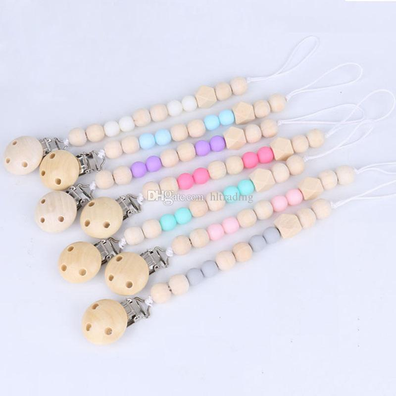 Newborn Pacifier clip Wood Beaded infant Nipple clip Baby carriage Lanyard Baby Clip Chain C4712