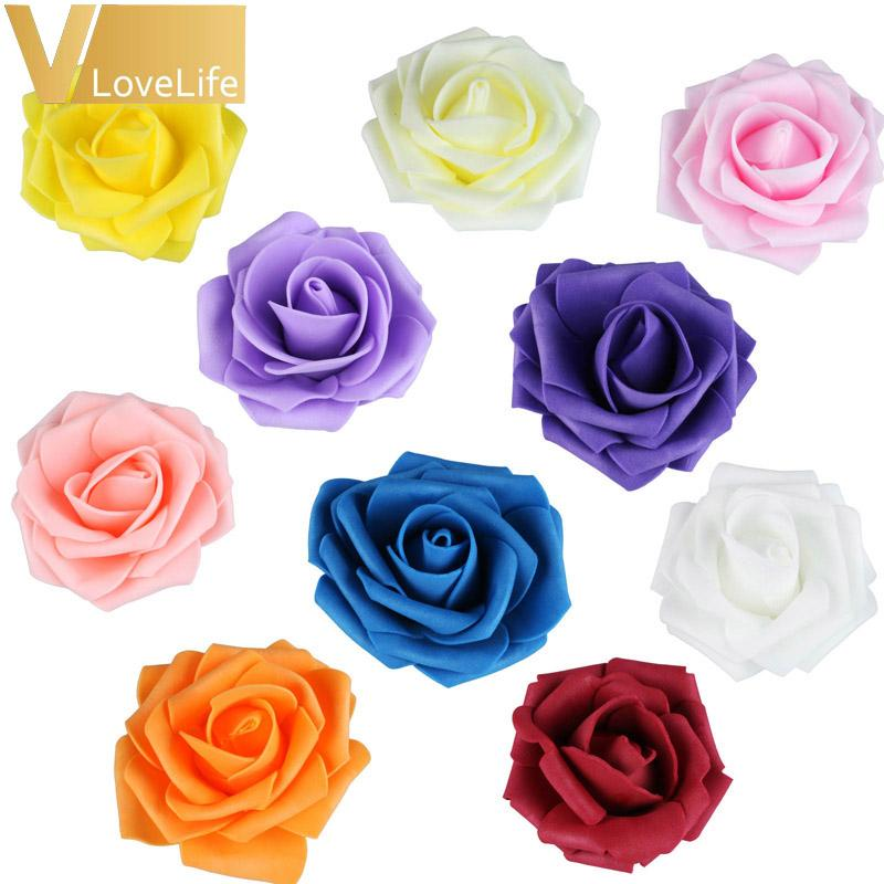 100pcs /Lot 7cm Pe Foam Rose Flower Heads Silk Artificial Rose Flowers Head Bouquet Handmade Wedding Home Decoration Festive