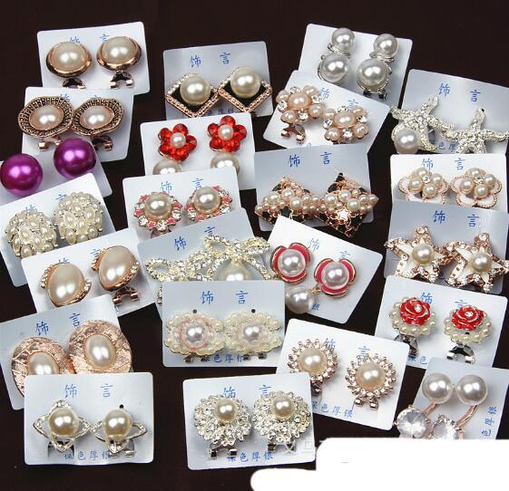 Mix casuale 15 stile 15 paia / lotto delicato orecchini di perle di cristallo stella di mare perla gemma orecchini pendenti in forma ragazza signora