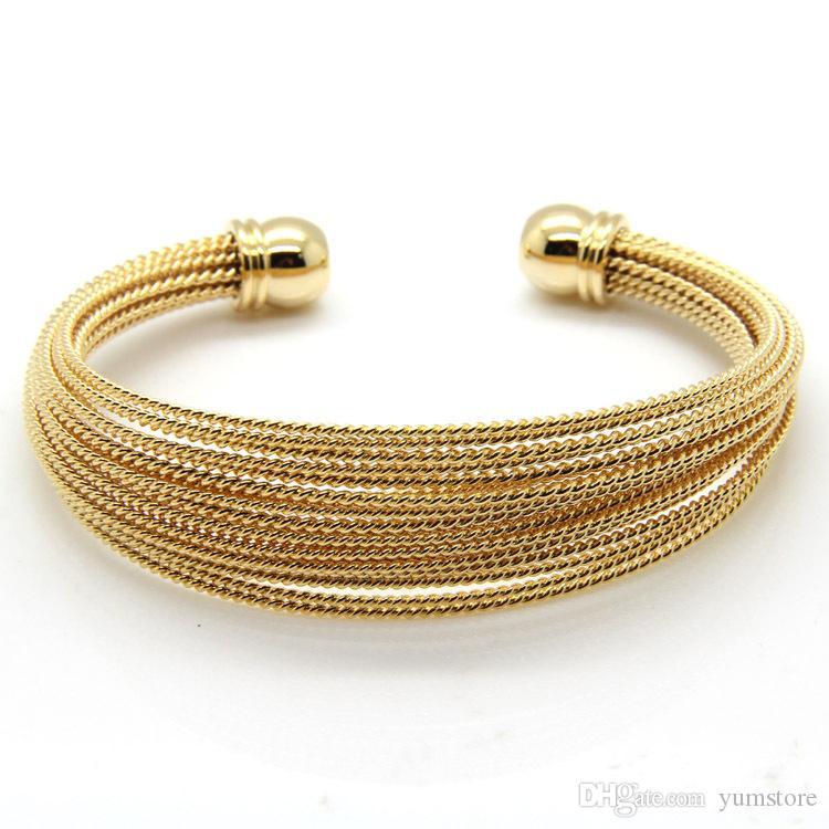 Chaude Européenne Style Bracelet En Fil En Acier Inoxydable Manchette Or Rose Plaqué Or Bracelets Pour Filles Femmes Bijoux