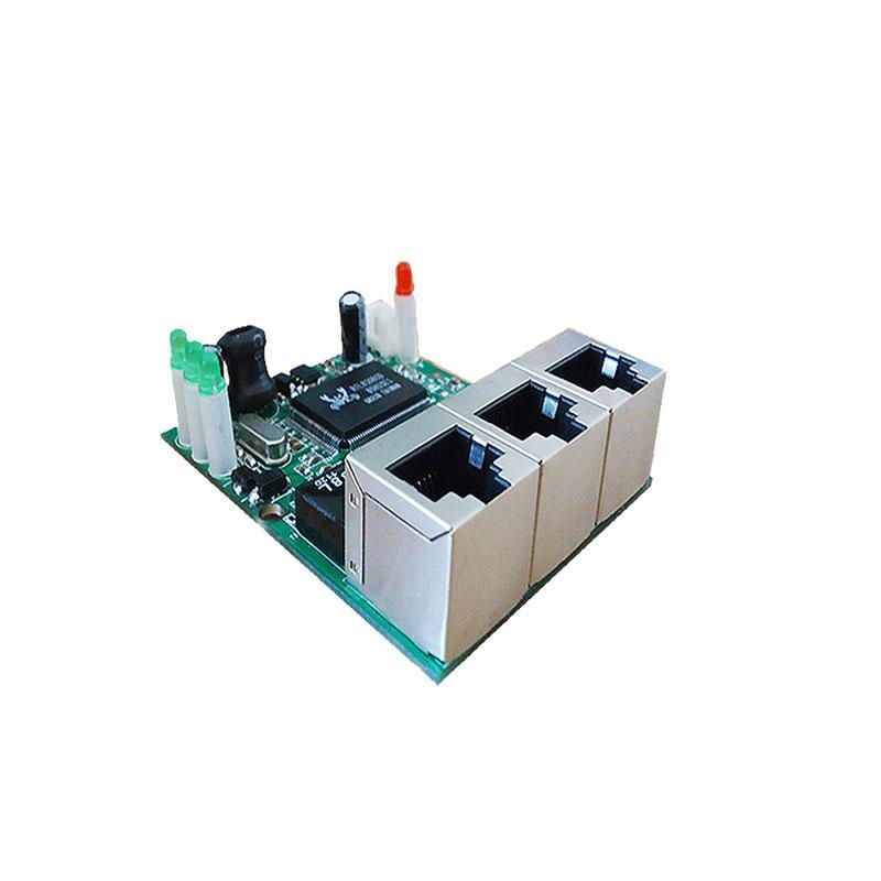 OEM shenzhen fabricante empresa venda direta chip Realtek RTL8306E mini 10/100 mbps rj45 lan hub 3 porta ethernet interruptor pcb board