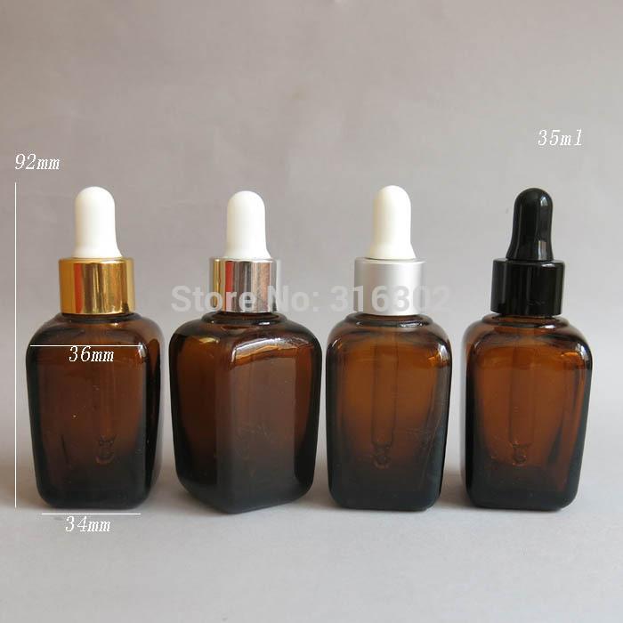200 / lot botella de gota de cristal del ámbar cuadrado 35ML, envase de cristal cuadrado del aceite esencial 35cc, botella de cristal 35CC