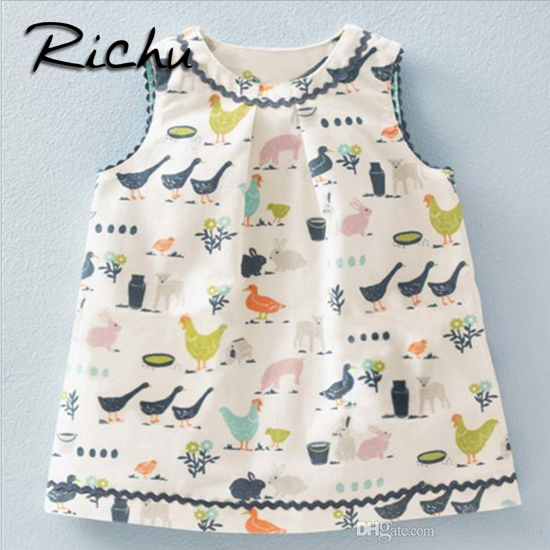 vestido Richu para meninas 18 meses-6 anos traje de verão sem mangas para as crianças princesa crianças roupas de algodão Uma linha de vestidos de bebê tecido de algodão