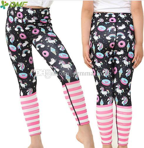 Cartoon Unicorns Print Cute Girl Yoga Pants Jogging Teenager Fitness Leggings Colorful Rainbow Kids Skinny Sports Trousers Slim