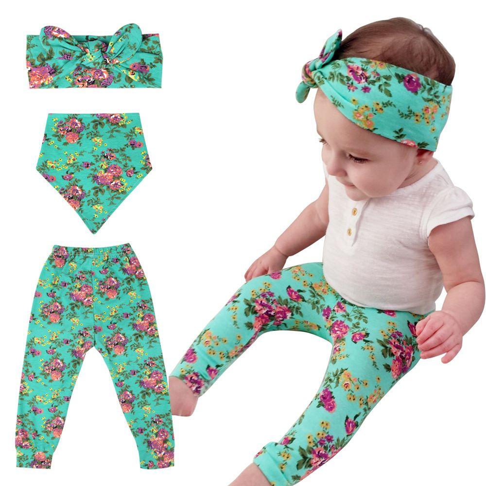 Newborn Baby Pants Set Trousers+Bunny Ear Headband+Bib 3PCS Outfits Set Cute Girls Bottom Floral Leggings Printed Flower Long Pants 0-24M P1