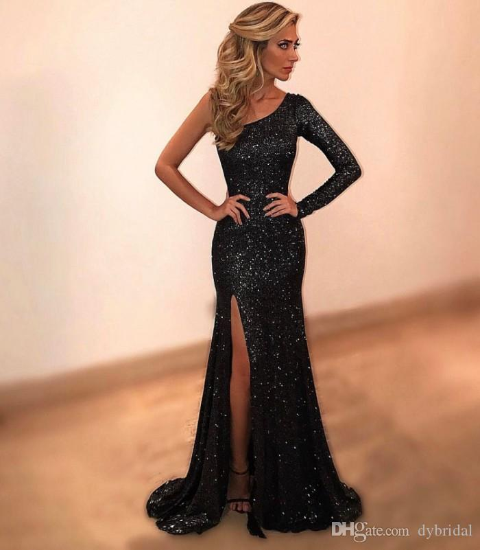 2021 Sexy barato Talla grande Vestidos de fiesta árabe Un hombro Mangas largas Vestidos de noche Formal Vestido de sirena Vestidos de baile negro