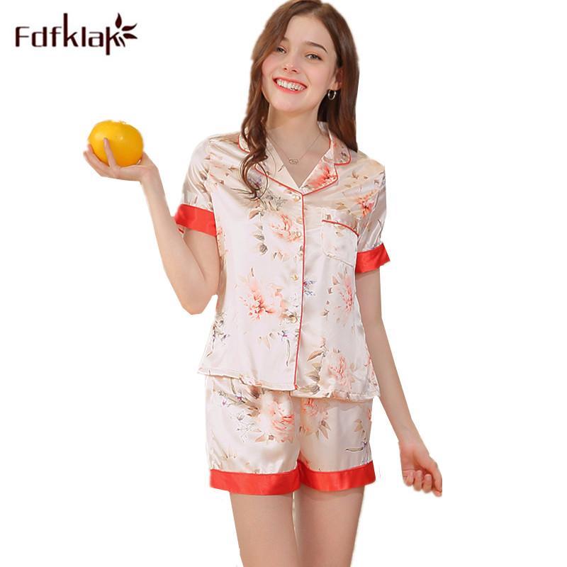Fdfklak Summer Silk Pajamas for Women Pijama Satin Sleepwear Sexy Pajama Sets 2 Piece Set Short Pants Pyjamas Pijama Mujer