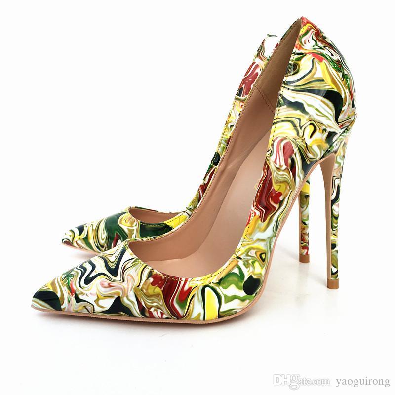 2018 Nowe żółto-zielone graffiti cienkie obcasy, szpiczaste buty na wysokim obcasie 12 cm super-heeled modne seksowne pojedyncze buty dostosowane 33-45 y