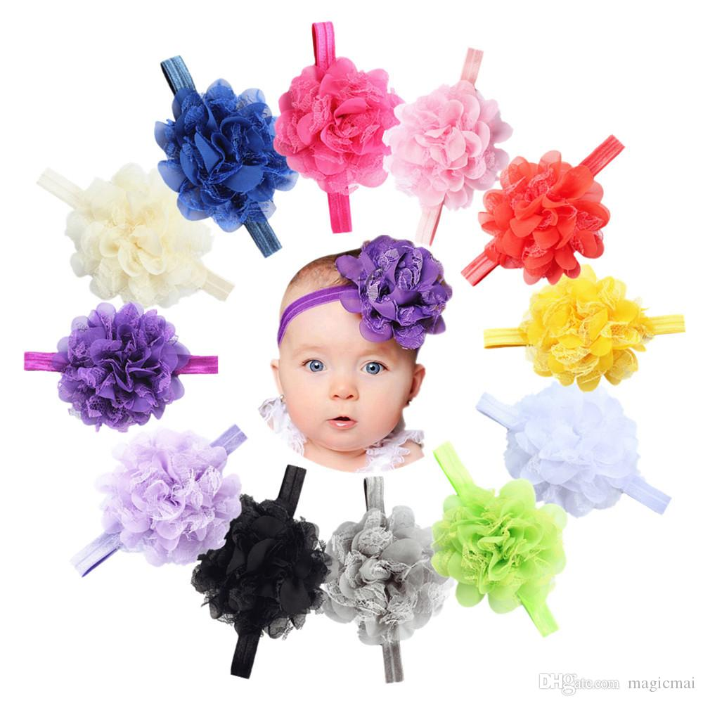 2019 baby hairband childrens headwear elastic flower hair band lovely 12 color hair accessories kids shower gift