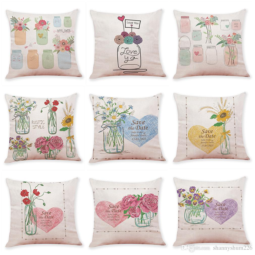 Flower Vase Linen Cushion Covers Home Office Sofa Square Pillow Case Decorative Pillow Covers Without Insert (18*18Inch)