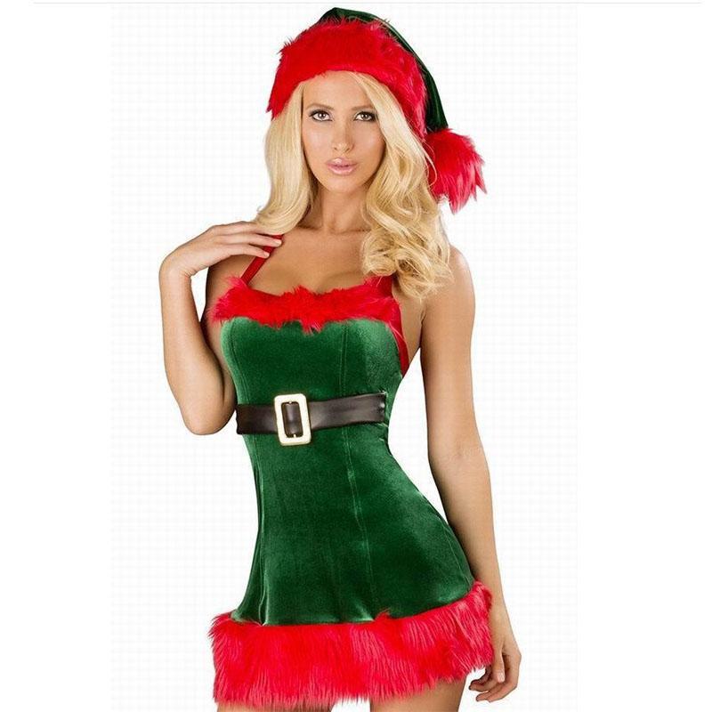 Sexy trajes de árvore de Natal verde Sexy vestido de Natal trajes de Papai Noel para adultos trajes de festa de Duende verde Deluxe uniforme