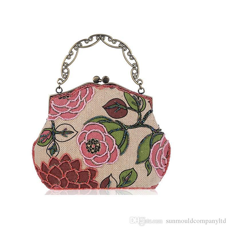 Borse da donna di alta qualità di marca vintage Lady Borse da sera Coccodrillo grano Casual frizione borsa fiore borsa borsa a tracolla