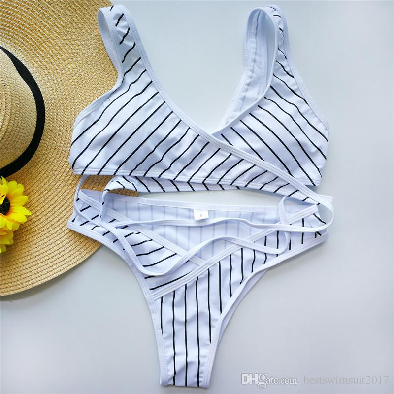 2018 Sexy Cruz Criss Biquinis Puxe Bandage Swimwear Mulheres Striped Bikini Set Lady Beachwear Biquinis Mulher Praia fatos de banho Wear banho