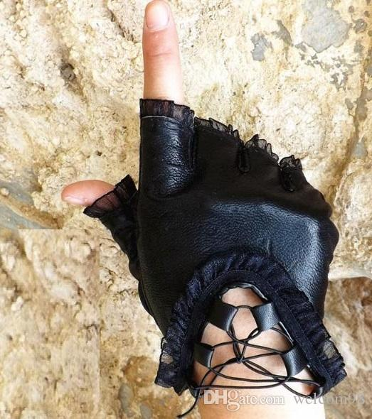 5pcs/lot Fashion Black Real Leather Woman Fingerless Gloves For Dancing Sports GL1