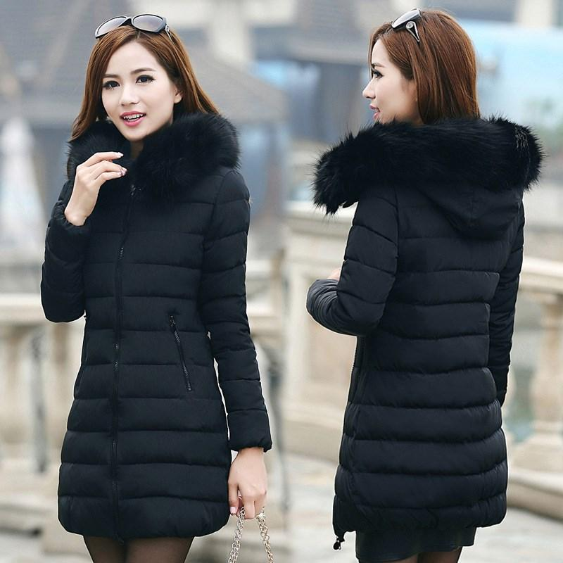 Winter 8 Colors Plus Size 7Xl Jacket Solid Women's Fur Collar Thick Cotton Parkas Winter Warm Hoodied Long Coat