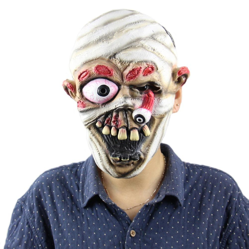 Scary Zombie Dolls Mask,Halloween Mask Devil Demon Wizard Costume Party Latex Mask Bleeding Zombie Horror face mask for Adults