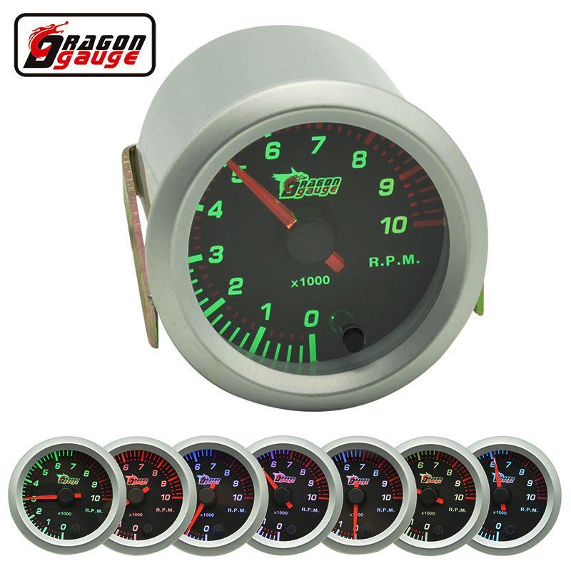 Medidor de dragón 52mm Auto Car Rev Counter Tacómetro Tacómetro Medidor de indicador 0-10000 RPM Calibre 7 color de luz de fondo