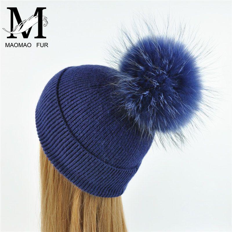 جديد محبوك قبعة أزياء المرأة الكبيرة ريال الراكون الفراء بوم بوم الكروشيه القبعات السيدات الشتاء لطيف عارضة قبعة الإناث قبعة D18110601