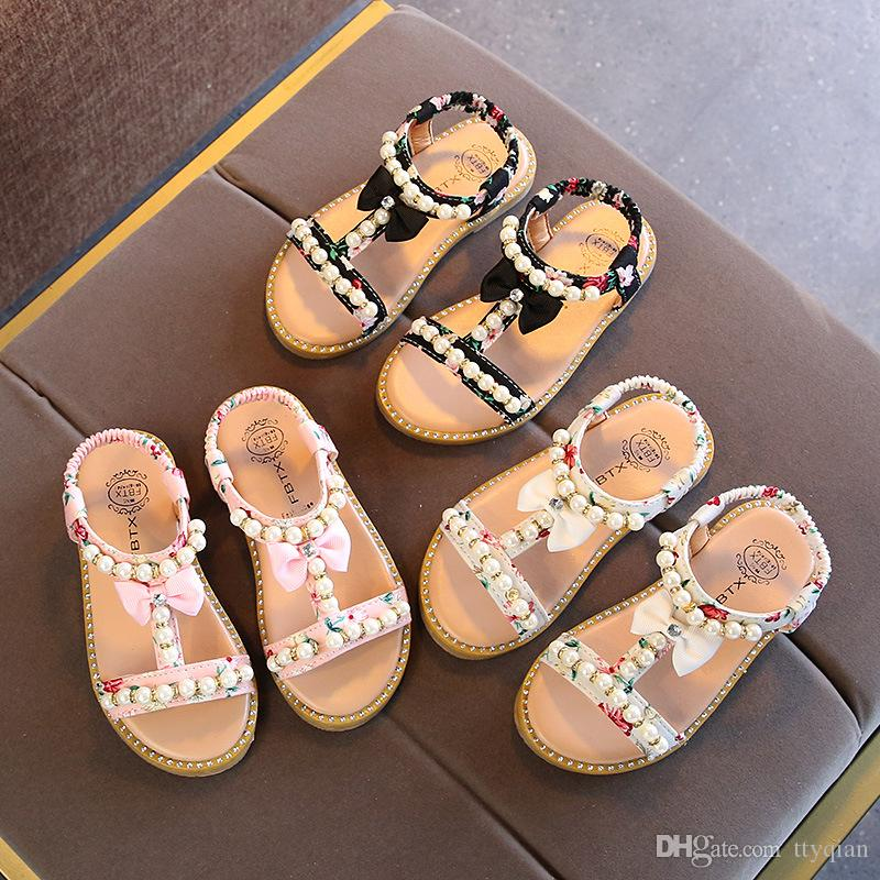 New Children Summer Baby Toddler Little Girls Sandals Floral Beaded Pearls Princess Dress Shoes For Kids Girls Rome Party Wedding Sandals