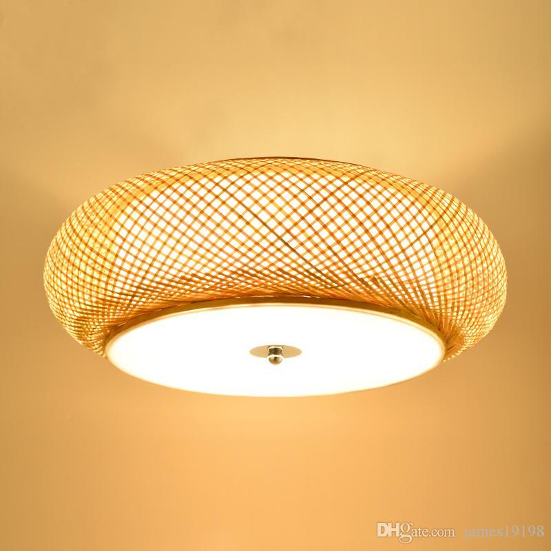 Bambù tessitura lampada rotonda soffitto lampade da giardino in rattan lampada LED Soggiorno Lampada antica Tatami Camera Studio soffitto Luce CA022
