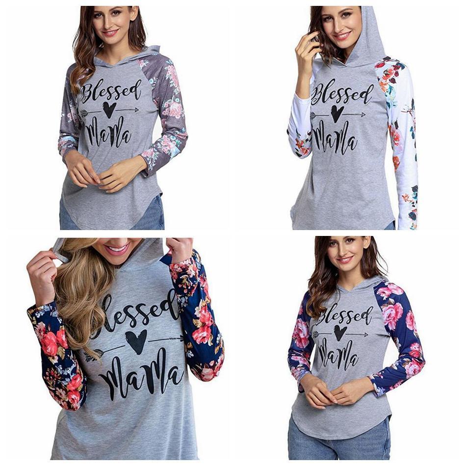 Moleton de Mama abençoada Hoodie Floral Raglan Manga Com Capuz Cartas Poltronas T-shirts Pullover Retalhos Meninas Gym Roupas OOA5658