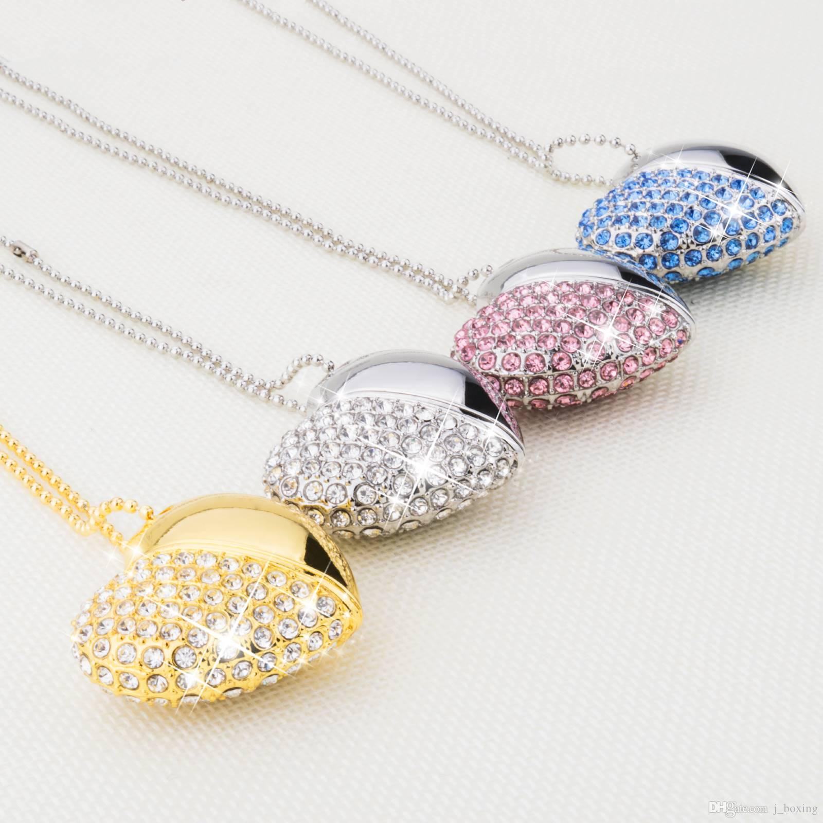 Crystal Heart Design 16GB USB 2.0 Flash Drives Enough Memory Sticks Flash Pen Drive for Computer Laptop Mac Tablet Multicolor Free Shipping