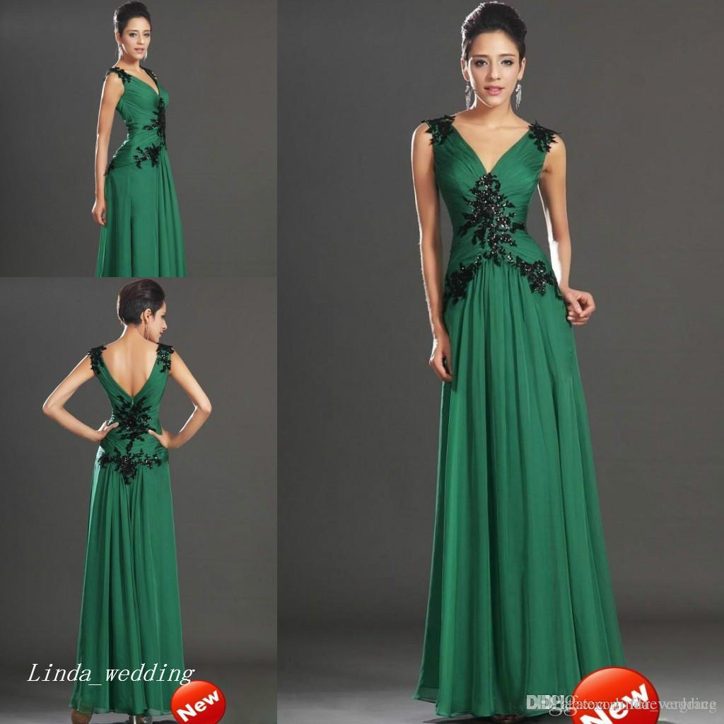 Vestiti Cerimonia Verde Smeraldo.Acquista Abito Da Sera Verde Smeraldo Una Linea Con Scollo A V