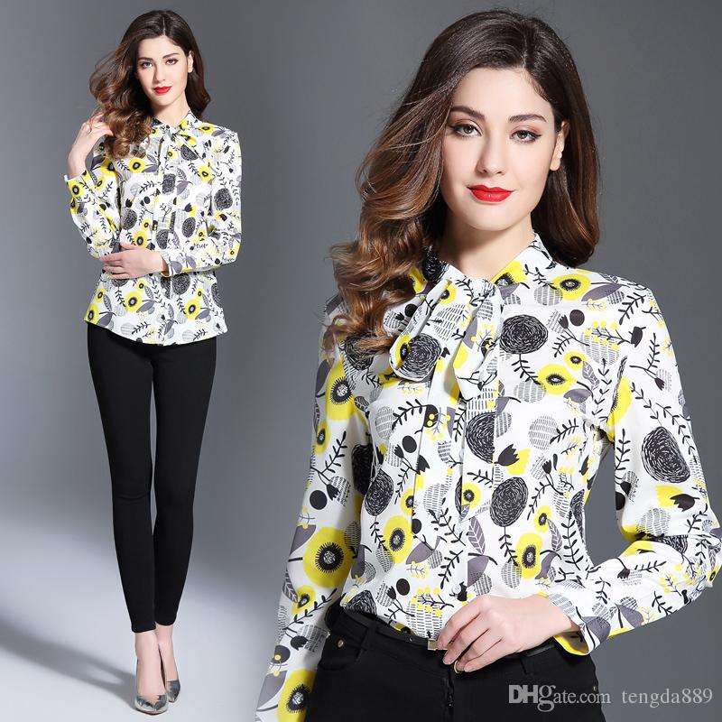 2020 Runway Luxury Floral Print Bow Ribbon Lady Womens Casual Office Button Front Lapel Neck Long Sleeve Top Shirt Blouse New Arrival